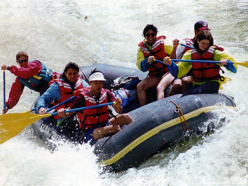 White water rafting on the Kern River at age 15 (front right...with the long hair...).