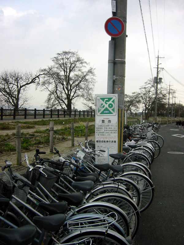 "The kanji on that sign reads ""no two-dimensional white bicycles on green backgrounds.""  So it's okay."