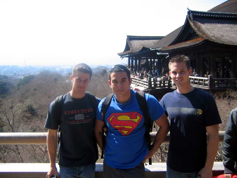 Me, Ron, and Jason in front of Kiyomizu overlooking Kyoto