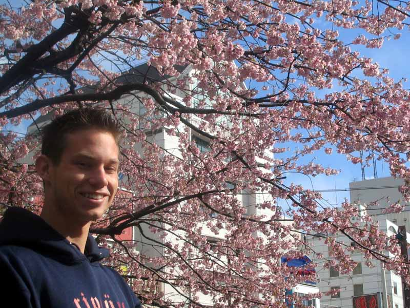 Jason with the sakura in ueno koen (see below)