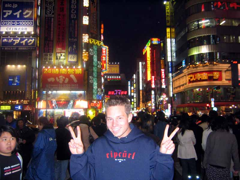 Jason getting into the japanese culture in Shinjuku