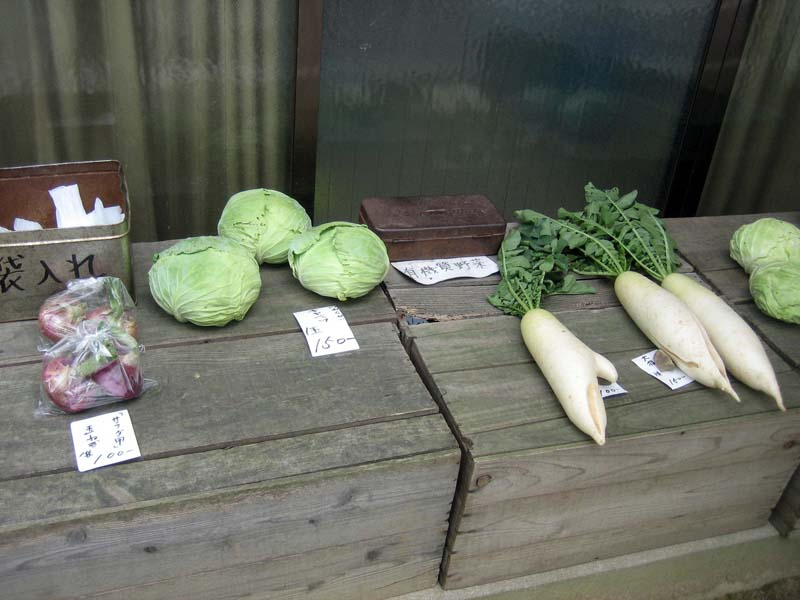 Vegetables for sale.  Another example of the Japanese honor system: these vegetables were sitting on a table in front of someone's house, with prices and a jar for money, no one in sight.  Take a vegetable, leave payment.