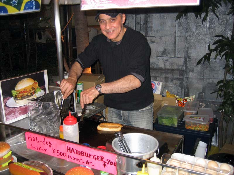 Our good buddy the Brazilian Hot-Dog Man, Oliviera.  His hot dogs have become a tradition whenever we hit up the bars of Osaka.