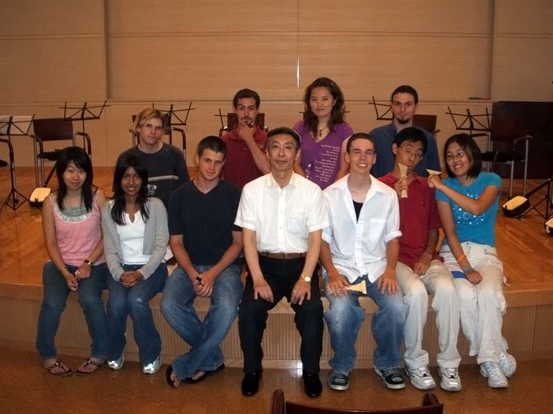 The shamisen class and its (proud?) sensei.