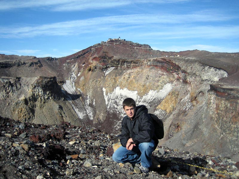 Me next to the volcanic crater