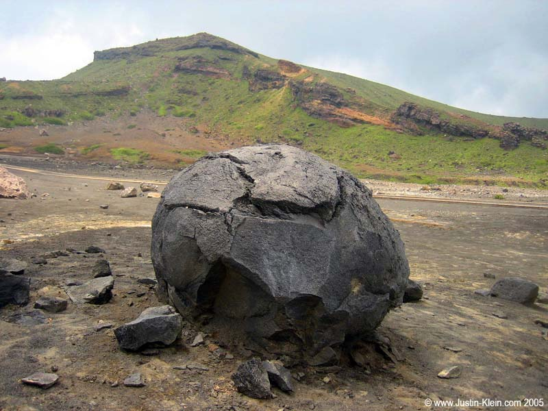 An awesome volcanic rock near one of Aso's lower (and presumably more recently active?) peaks