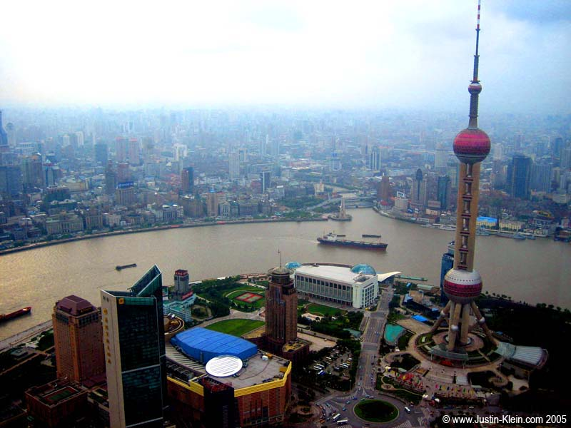 The view from Jin Mao Tower, the fourth tallest building in the world