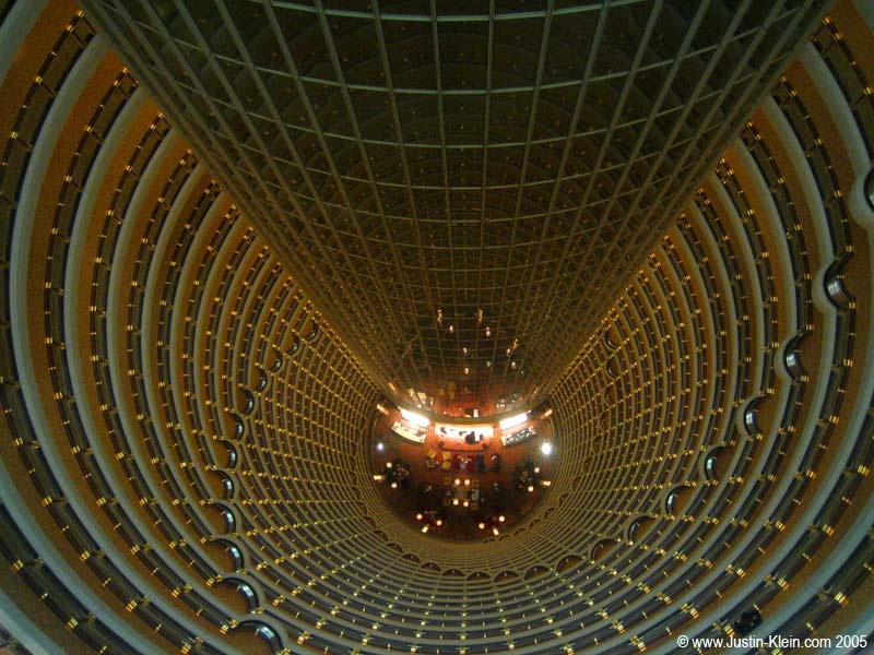 The hollow interior of Jin Mao Tower