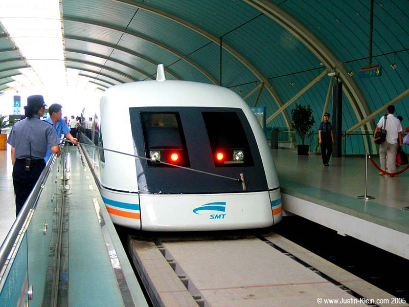 Shanghai's famous Maglev train, which levitates/travels at a speed of 431kph (267 mph).  Craaazy.