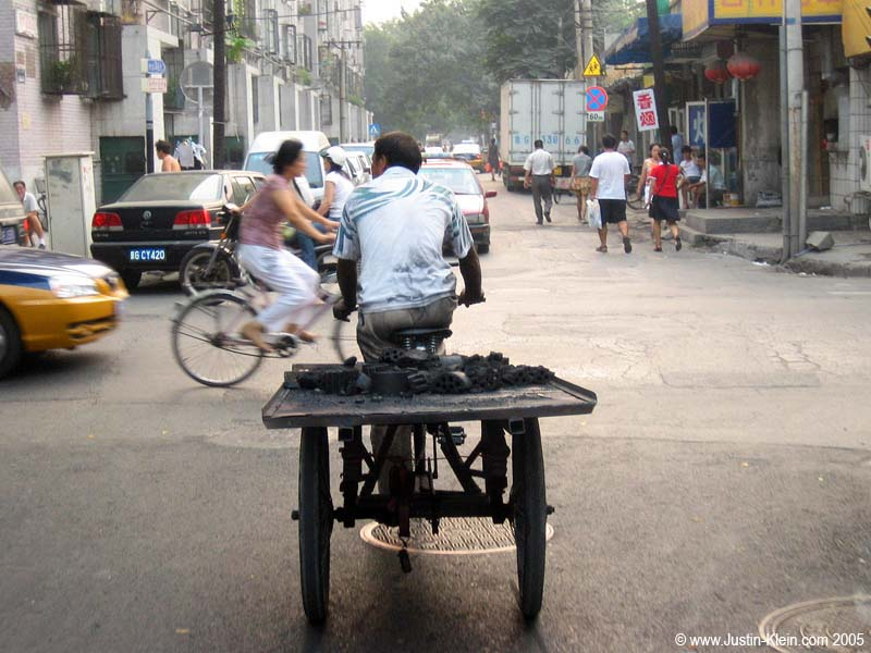 Delivering some charcoal for heating in one of the Hutongs, or old-style Chinese neighborhoods.