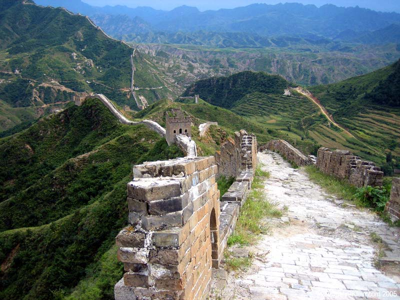 An unrestored section of the Great Wall of China, over 500 years old.