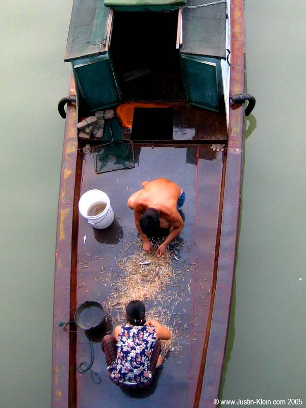 Some local fishermen sorting through the day's catch on the deck of their little sampan