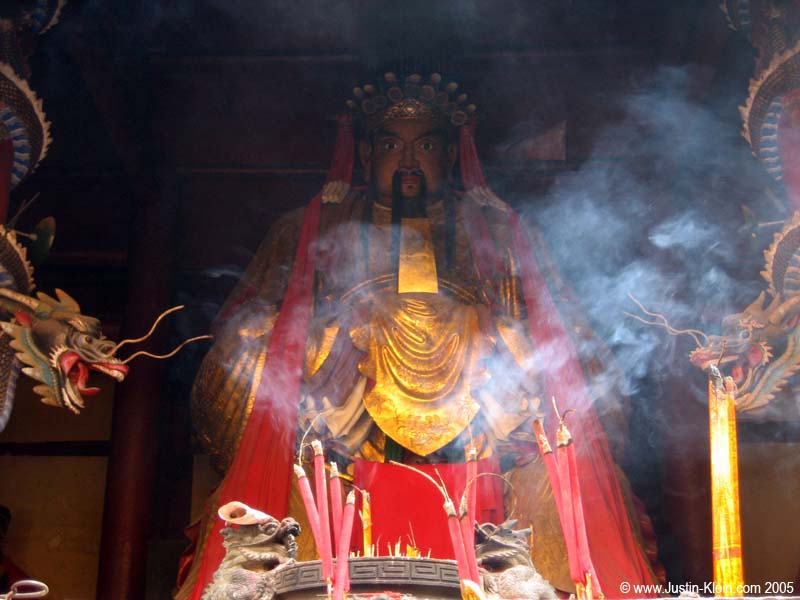 The big guy in the back of the Heaven and Hell temple, sitting there all happy with his little tray of incense.