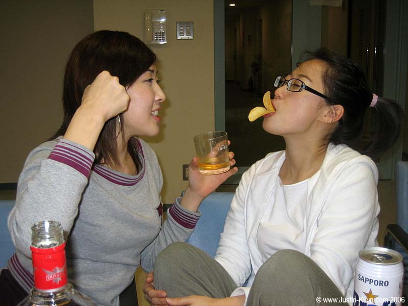 No, Min-Kyeong and Chie are not in the slightest bit intoxicated.