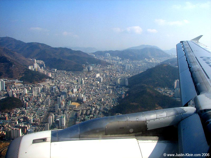 The city of Busan filling up the gaps between the mountains