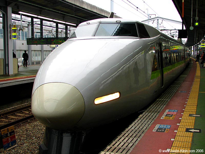 Shinkansen, Japan's bullet trains.  This is the least futuristic-looking model, but I think  it's cool because it looks so much like an airplane.