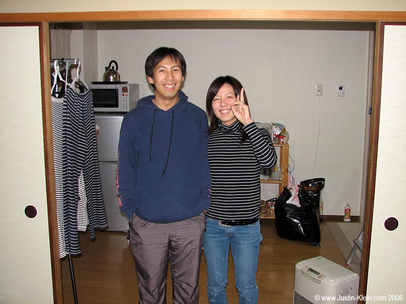 Yano and his new wife at their apartment in Takatsuki