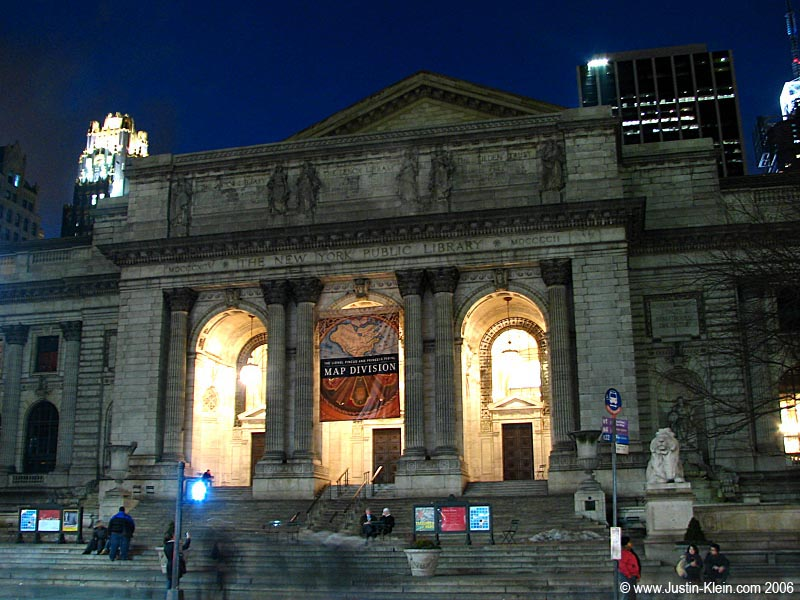 New York Public Library at dusk