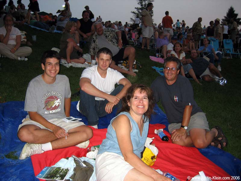 "My aunt, uncle, and cousin at the outdoor Ian Anderson concert. In case you were wondering, I have about 500 first and second cousins.  Many of them have nicknames, such as ""The Nose,"" and ""Miller.""  But we're not mafia.  I swear."