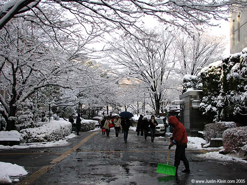 A snowy day at Ritsumeikan.