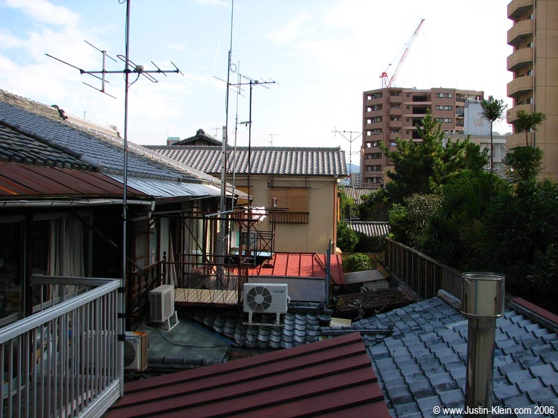 The well-lit, quiet, very Japan-looking view from my balcony.