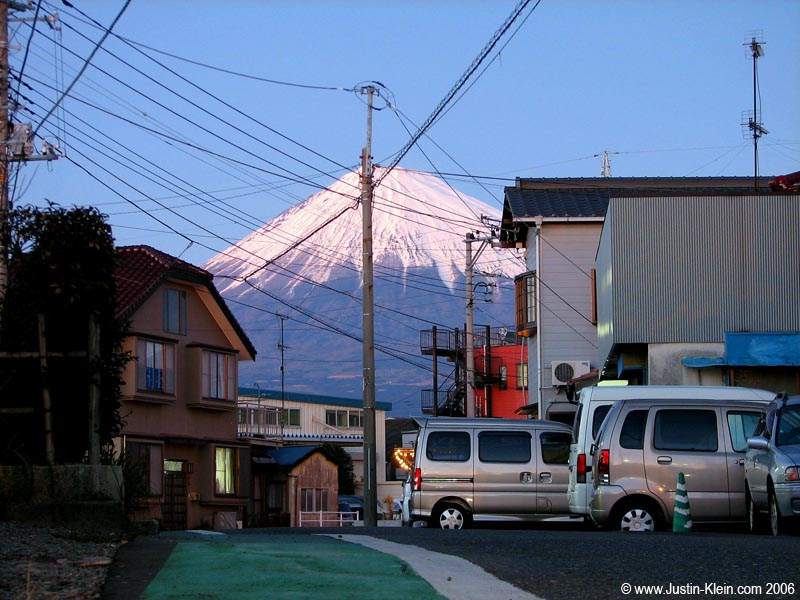 Two of Japan's more prominent features: Mt. Fuji and power lines.