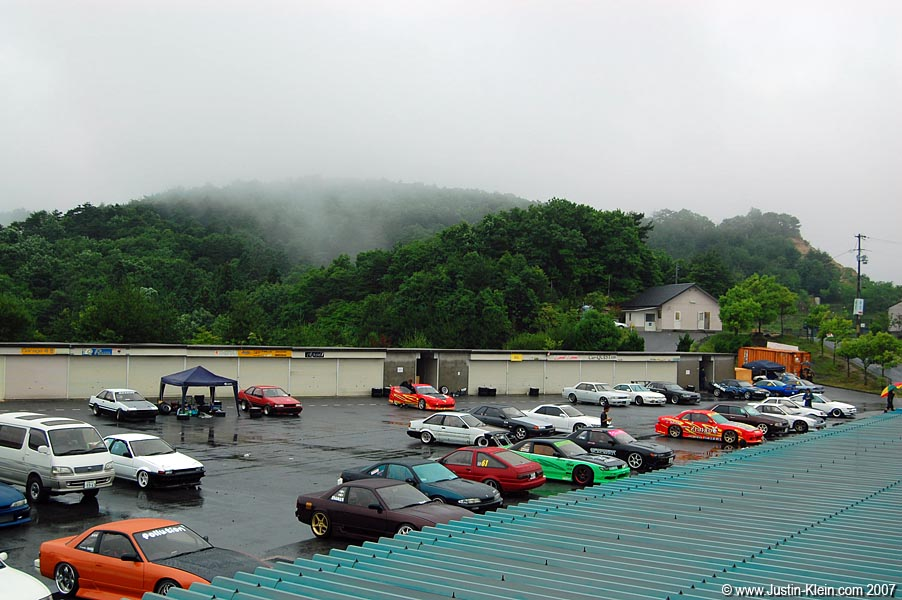 名阪スポーツランド parking lot, in the Misty Mountains of Nara.