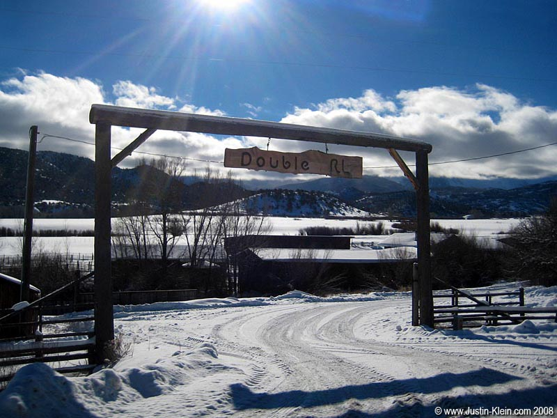 The gate to Ralph Lauren's 22,000 acre ranch just outside of Telluride.