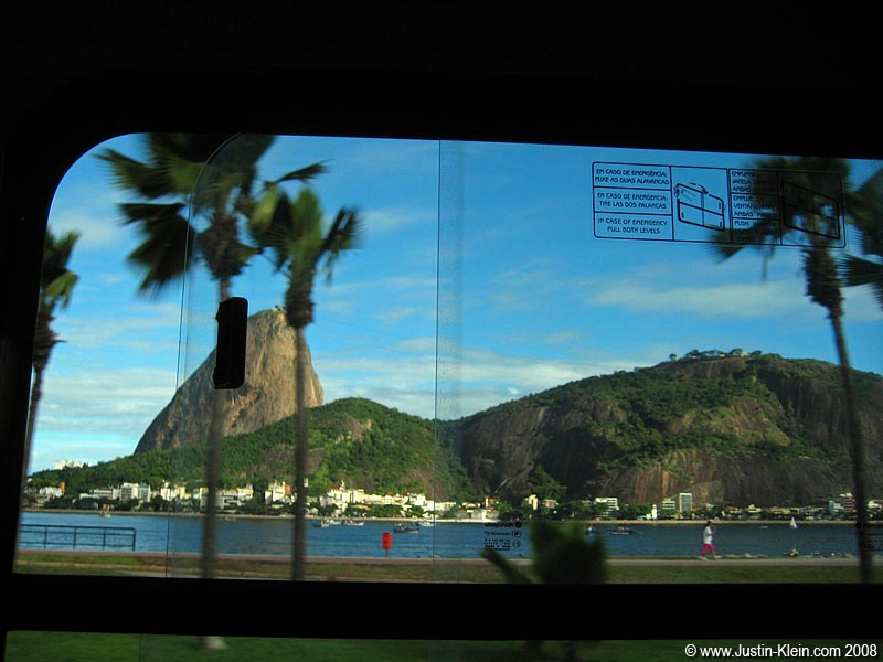 It's not Copacabana, but here's one of the views of sugar loaf on our busride back from downtown.