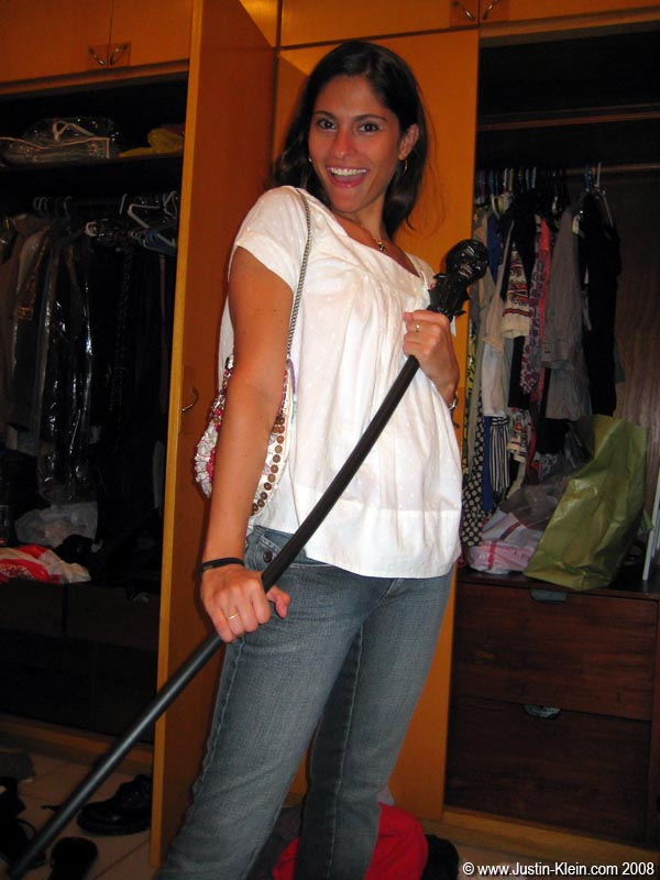 Silvia getting ready to go out for a night on the town. …With MY cane! ; )