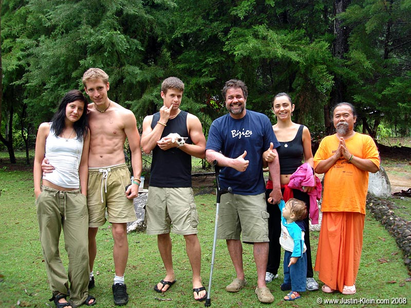 The Jungle Beach Crew: Swedish girl, Peder, <strike>Dr. Evil and his kitten</strike> me, the owner, his wife, their youngest child, and the Filipino yoga instructor