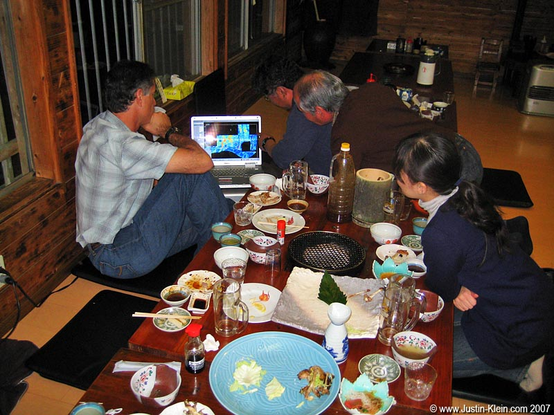 Presenting our finds over dinner at the Ryokan.