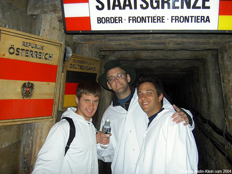 Honshu/Kyushu was the second subterranean border I've crossed in my life – here I am at the border of Germany and Austria in an Austrian salt mine back in 2004.