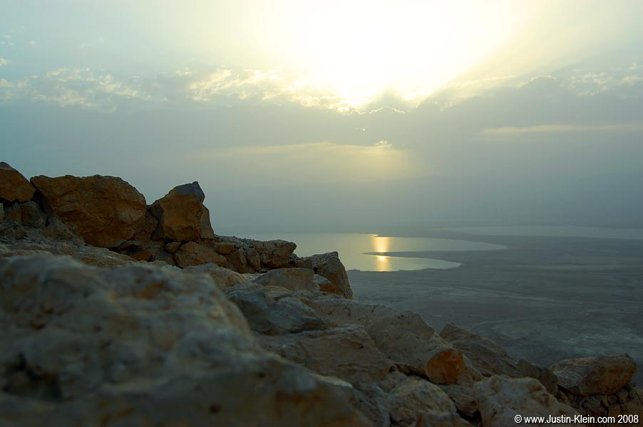 Sunrise at Masada, with the Dead Sea off in the distance.