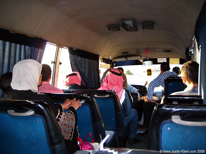 On the bus from Petra to Amman, Jordan.