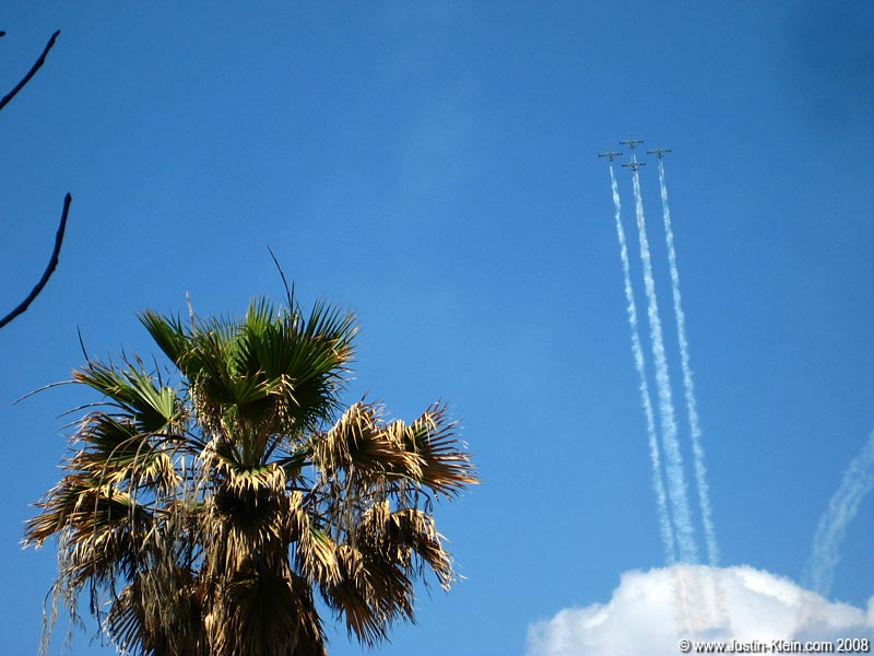 Planes over Tel Aviv practicing for the Independence Day Airshow.