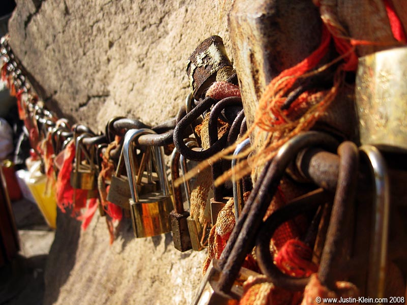 Fastening engraved padlocks to the chains lining the trail seems to be some sort of good-luck charm…