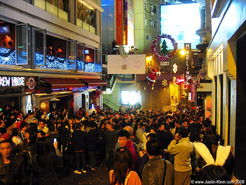 Out in Lan Kwai Fong for the Christmas Eve countdown.