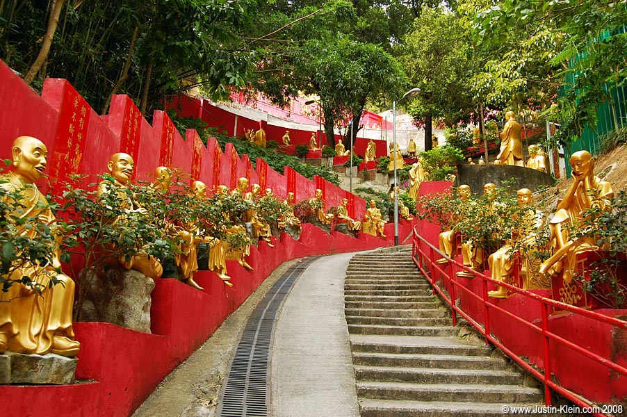 The 400-step walkway up to the monastery was lined with even more buddhas.