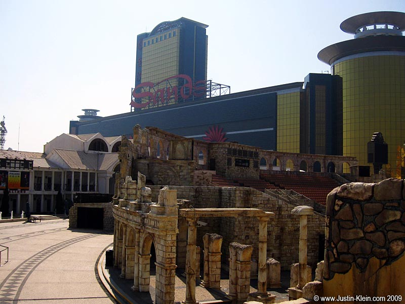 "The Sands Macau overlooking the Fisherman's Warf – and its cheesy ""Aladdin"" motif."