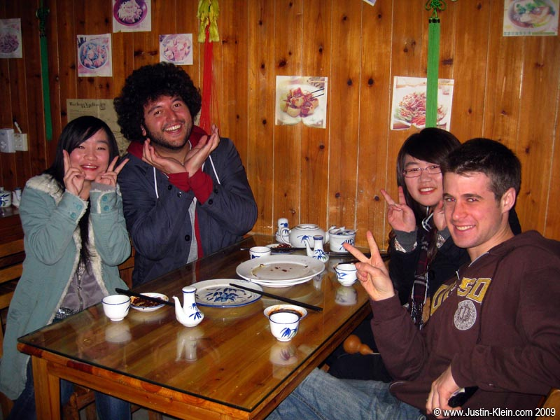 Out for a snack at Dumpling Dynasty with Dave (the Aussie who convinced me to catch a flight from Guangzhou to Yangshuo), Carey, and Lively (Two girls from the next province whose parents sent them to Yangshuo for a month…in hopes of meeting foreigners and learning English).