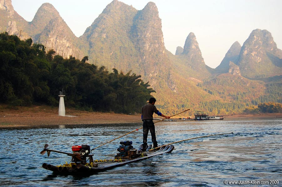 Floating downriver towards Yangshuo.