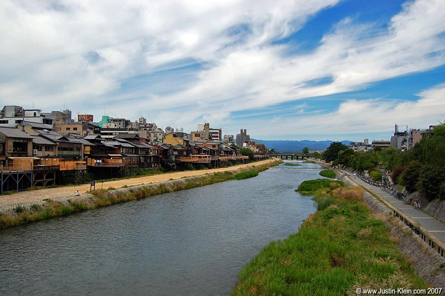 The Kamo River, running through downtown Kyoto.