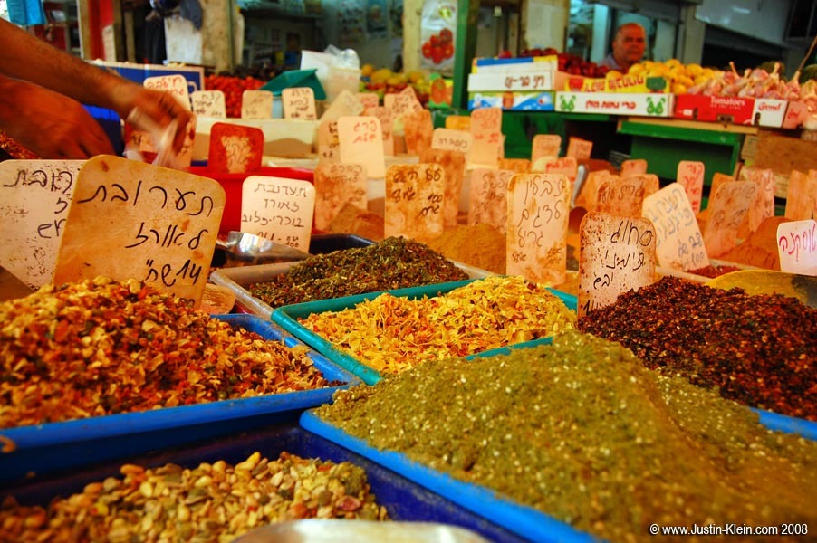 Fresh spices at a street market in Tel Aviv, Israel.