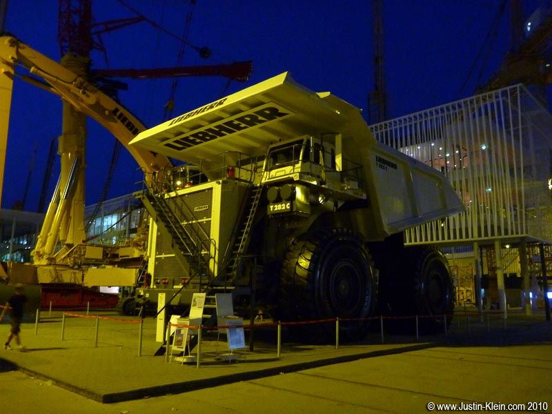 The world's biggest dump truck.  Take a look at the guy to the left of the frame – a full-grown man is barely HALF the height of one of those wheels!