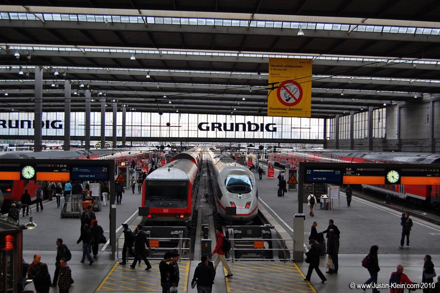 "Munich Central Station – the white train is a high-speed ""ICE."""