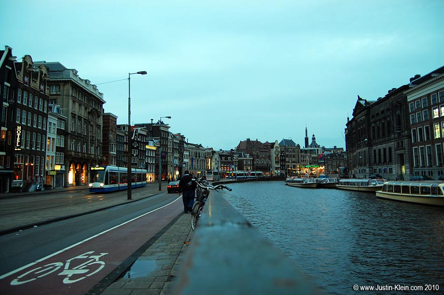 Out for an evening stroll in Amsterdam.