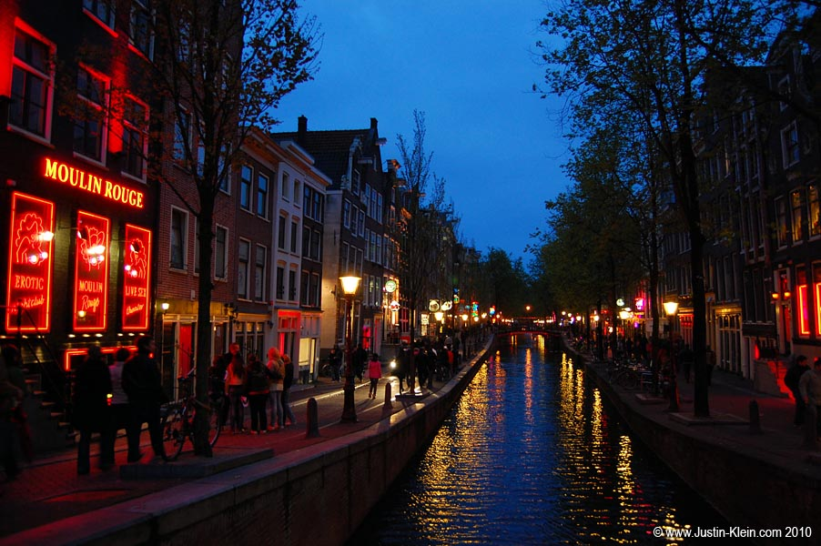 Dusk in Amsterdam's Red Light District.