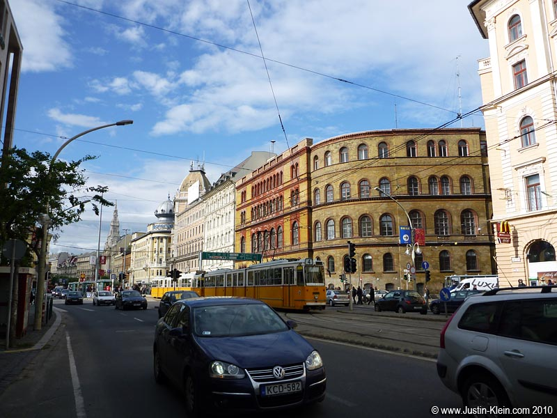 One of the main streets in central Pest.  My lodging was in Buda, on the other side of the Danube River.