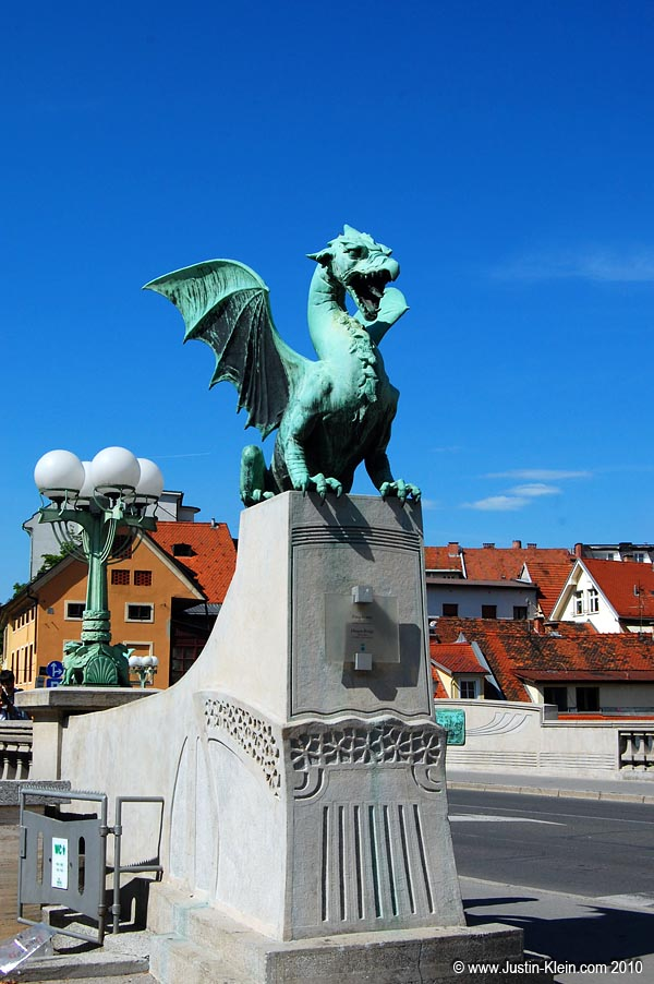 The Dragon Bridge, one of Ljubljana's more well-known landmarks.